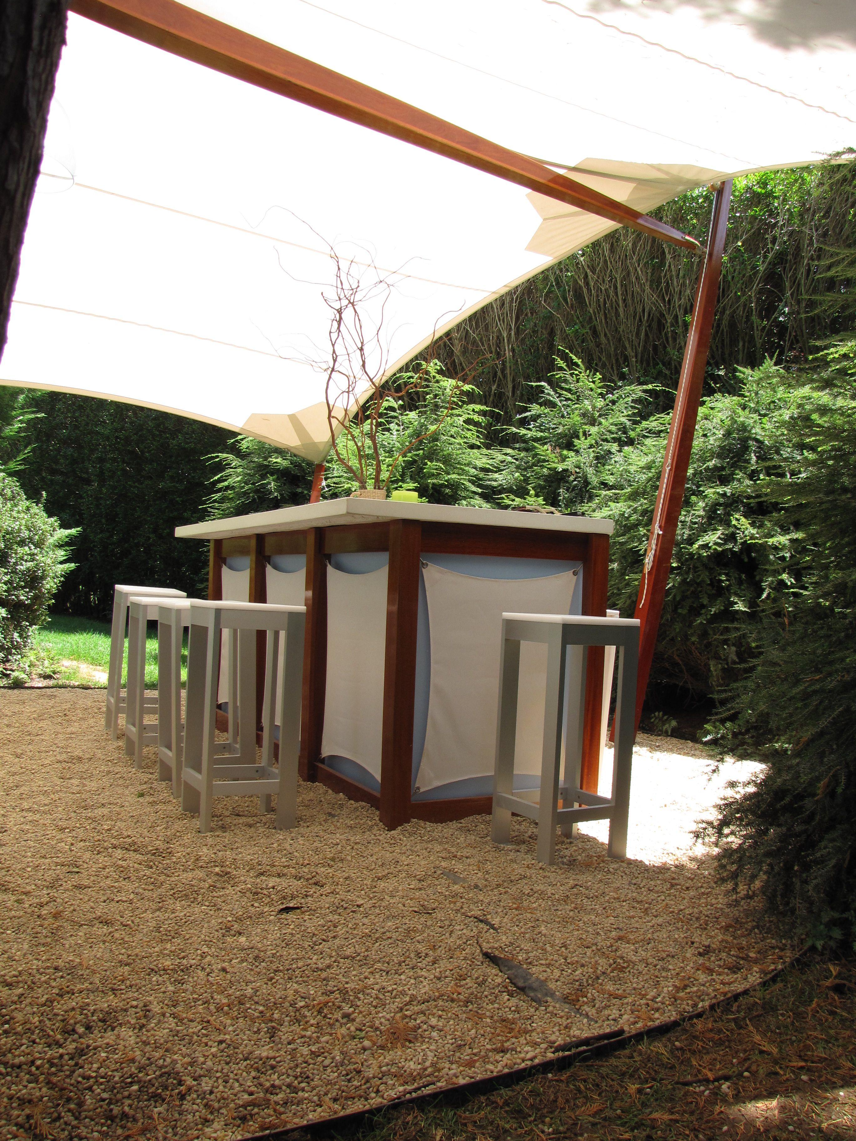 Mahogany awning and matching bar in Southampton, NY