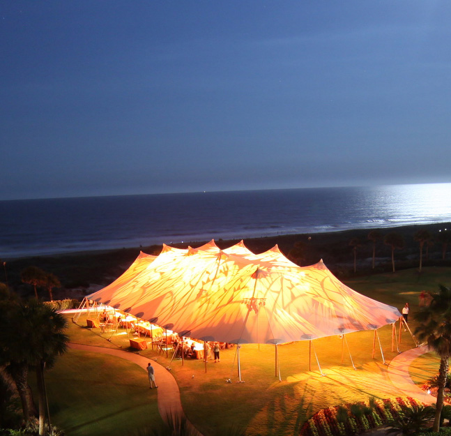 The 66' x 126' tent in the moonlight.